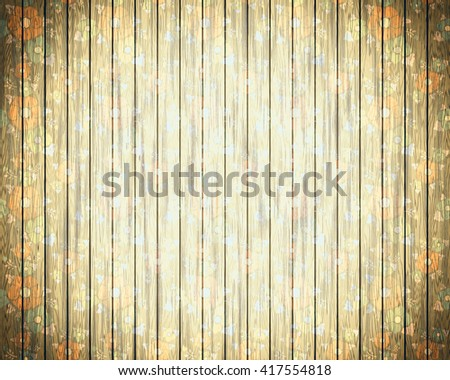 Background texture the wooden panel with flowers, warm sand. A bright and decorative background vignette, a basis for design, with structure of a tree and a flower pattern. Retro style. - stock photo