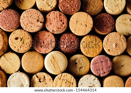 background texture with different wine corks - stock photo