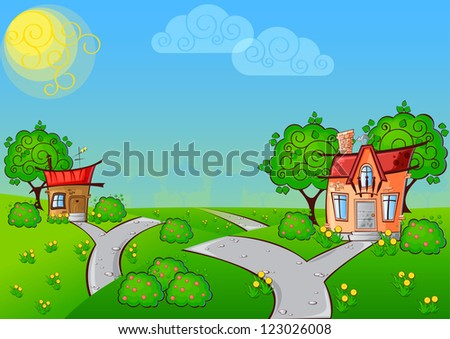 background the path to a cartoon house with the cat on the roof surrounded by trees