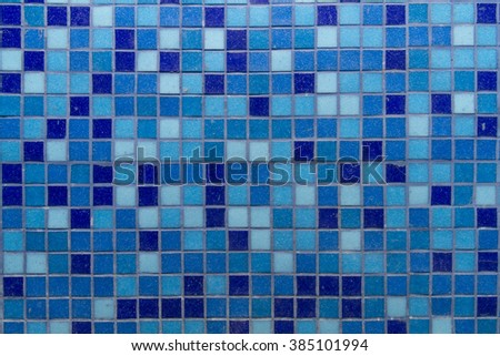 Background tiles in a mosaic of blue. - stock photo
