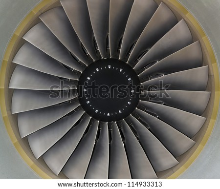 background turbine blades jet engine aircraft closeup
