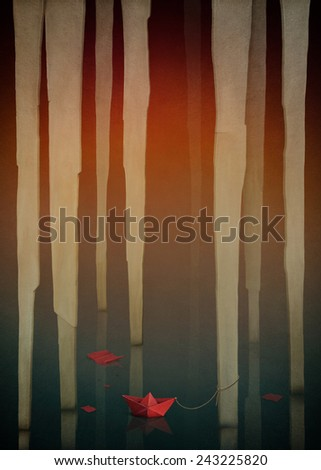 Background underground in  cave with stalactites - stock photo