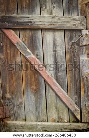 background very old wooden door retro dark - stock photo
