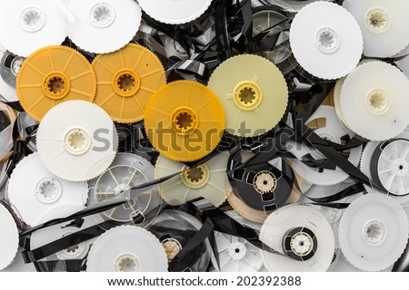 Background VHS tape that was disassembled into a pile together. - stock photo