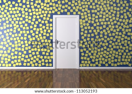 Background Wall with post it - Room with Parquet floor