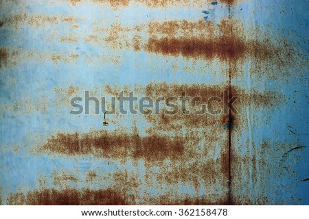 Background/ wallpaper - blue rusting metal. - stock photo