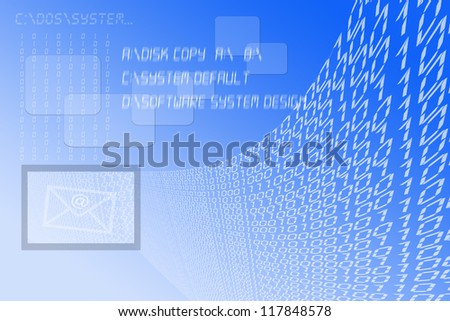 Background which simulates a computer and binary code