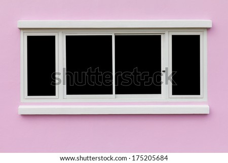 Background window frame in the wall pink black backdrop  - stock photo