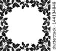 Background with a border of oak branches with leaves and acorns, black contours on white. - stock
