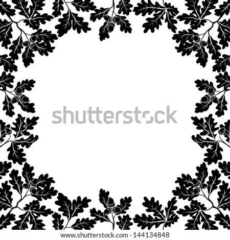 Background with a border of oak branches with leaves and acorns, black contours on white. - stock photo