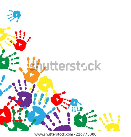 Background with a colorful prints of children's palms - stock photo
