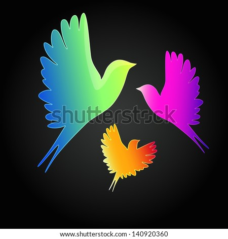 background with a flying birds. - stock photo