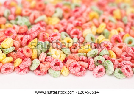 Background with a group of kids fruity cereal. Shallow DOF. - stock photo