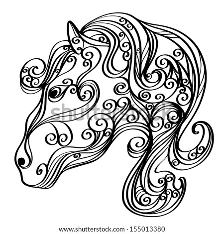 Background with a horse isolated symbol of the new year - raster version