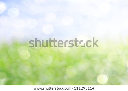 background with a soft bokeh of the sky and grass - stock photo