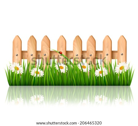 Background with a wooden fence with grass, flowers and butterflies - stock photo
