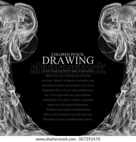 Background with abstract cloud of ink drawn by hand with colored pencils. Watercolor in water. Holi. Liquid ink. Pencil drawing. Place for text. Black and white - stock photo