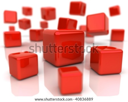 Background with abstract red cubes (depth of field) - stock photo