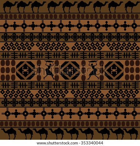 Background with African motifs and camels silhouettes  - stock photo