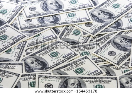 Background with american hundred dollar bills
