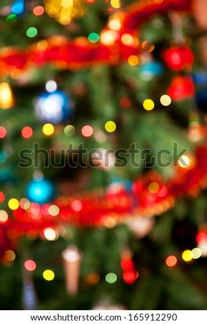 Background with an fuzzy Christmas fir-tree, beautiful bokeh