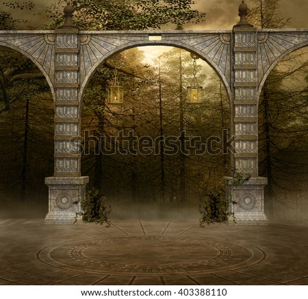 Background with ancient arcs - 3D illustration - stock photo