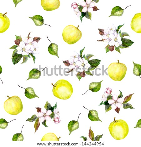 Background with apple flowers, leaves and apples - stock photo