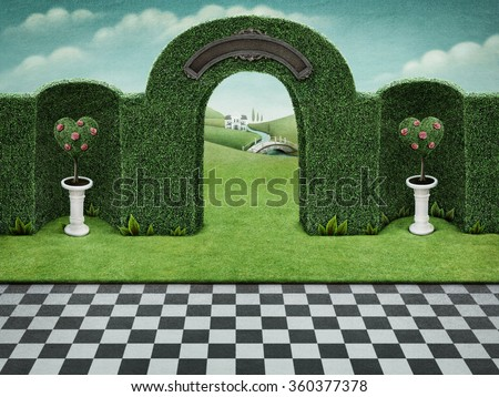 Background with arch and green hearts with roses  on pedestal.  - stock photo