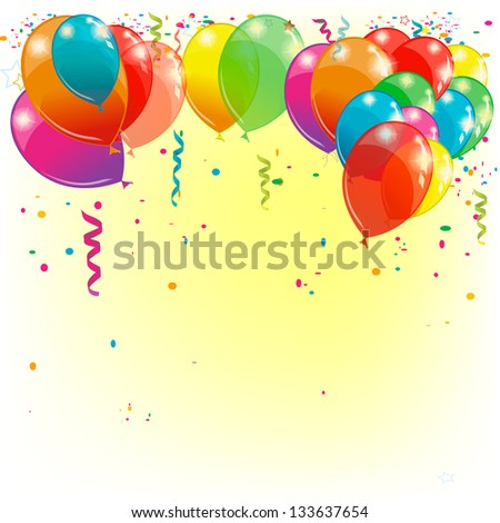 Background with balloons. Raster - stock photo