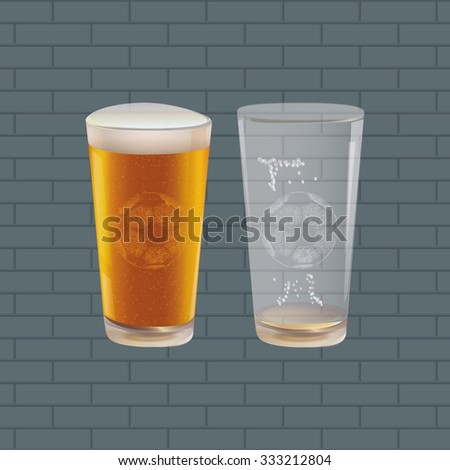 Background with Beer and Soccer Ball.  - stock photo