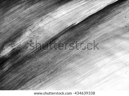 Background with black and white watercolor strokes. Abstract grayscale hand drawn aquarelle backdrop