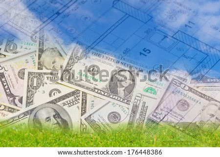 Background blue sky green land blueprint stock photo 176448386 background with blue sky green land blueprint of a house interior and us dollars malvernweather Choice Image