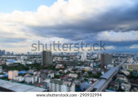 Background with blurred aerial view with skyline and blue sky - stock photo