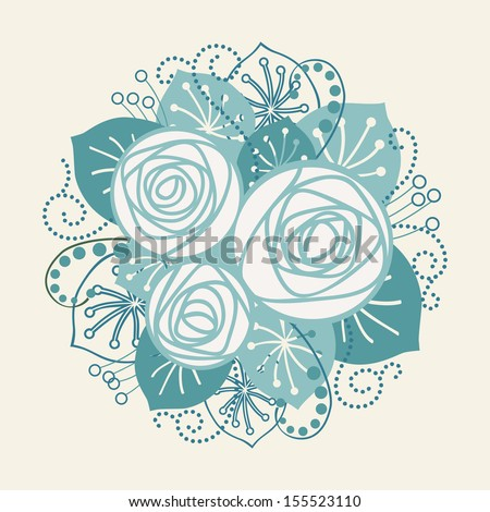 Background with bouquet of white roses. Stylized blue flowers, leaves, branches. Invitation, greeting card for wedding and holiday. Romantic abstract floral decorative illustration in form of circle