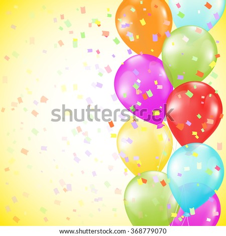 background with bright colorful balloons as a border and confetti on yellow background. raster version - stock photo