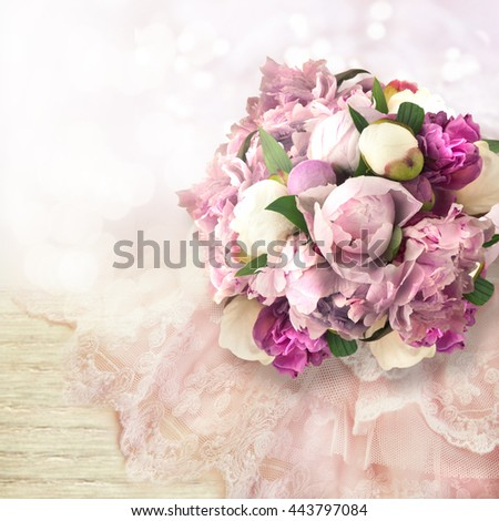 Background with bright pink peonies.