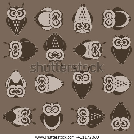 background with brown owls. Raster version - stock photo
