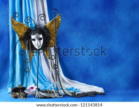 Background with carnival mask and pearls - stock photo
