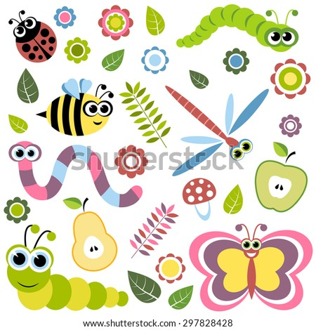 Background with cartoon insects, flowers, leaves, apple and pear. Raster version - stock photo