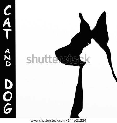 background with cat and dog silhouette - stock photo