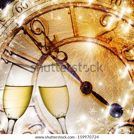 background with champagne glasses and clock - stock photo