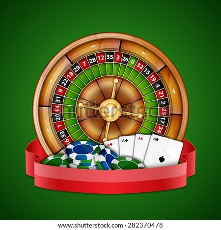 Background with chips, cards and roulette. Casino background