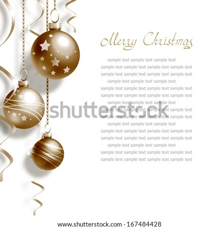 Background with Christmas balls and place for text - stock photo