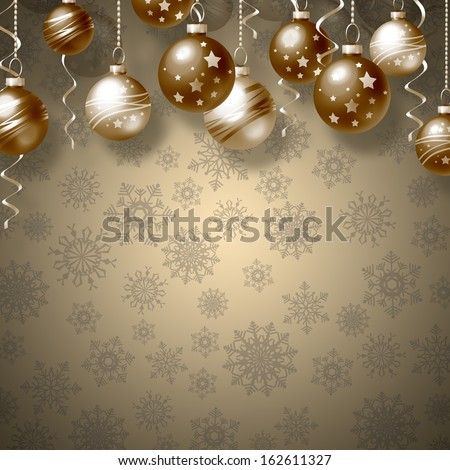 Background with Christmas balls and snowflakes
