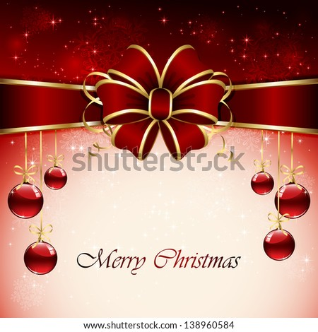 Background with Christmas balls, bow, snowflake, stars and blurry light, illustration. - stock photo