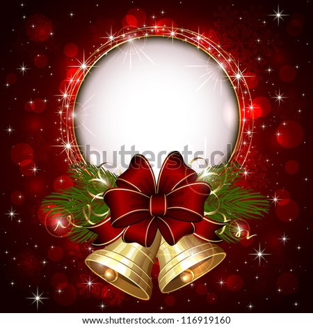 Background with Christmas bells, bow and snowflakes, illustration. - stock photo