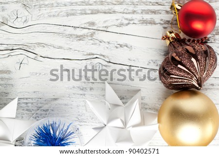 Background with christmas toys on white wooden table