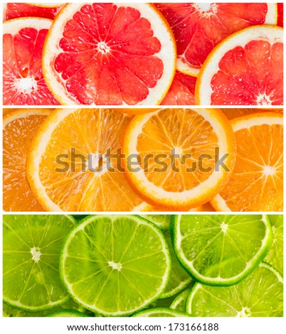 Background with citrus-fruit of lime, grapefruit and orange slices - stock photo