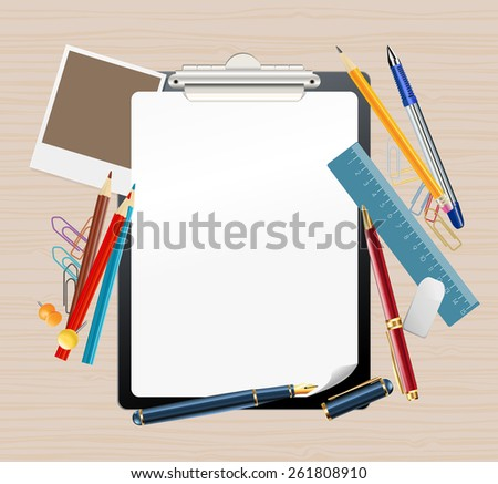 background with clipboard and office supplies - stock photo