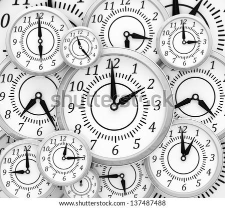 Background with clocks - stock photo